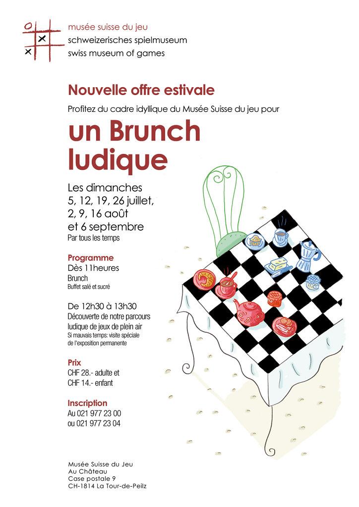 """Flyer pour """"Brunch ludique"""" au Musée Suisse du Jeu"""
