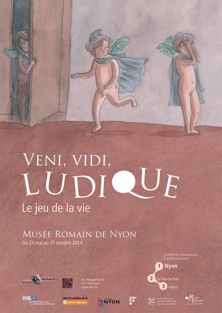"""Affiche pour l'exposition """"Veni, vidi, ludique"""" au Musée romain de Nyon"""
