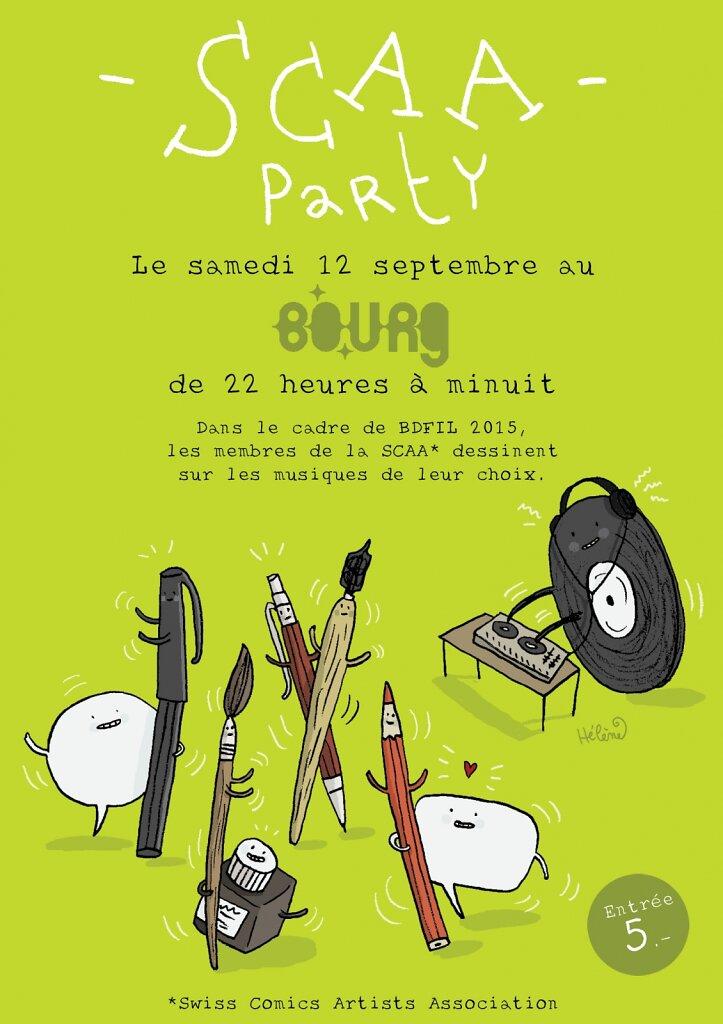 """Affichette pour l'événement """"SCAA party"""""""
