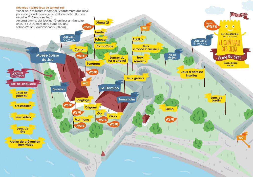 """Plan du site pour l'événement """"Le Château des jeux 2015"""" au Musée Suisse du jeu"""